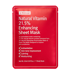 Витаминная антиоксидантная тканевая маска By Wishtrend Natural Vitamin 21,5% Enchancing Sheet Mask